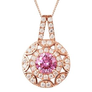 PINK/WHITE MOISSANITE NECKLACE